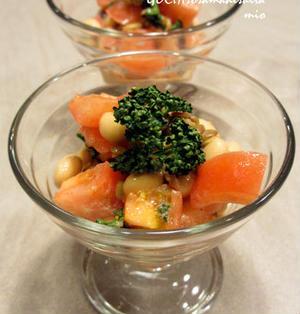レンズ豆と大豆のまめまめトマトサラダ