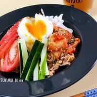 【暑い夏にピッタリ!】ピリ辛!ビビン麺の作り方【半熟卵がとろ~り!】