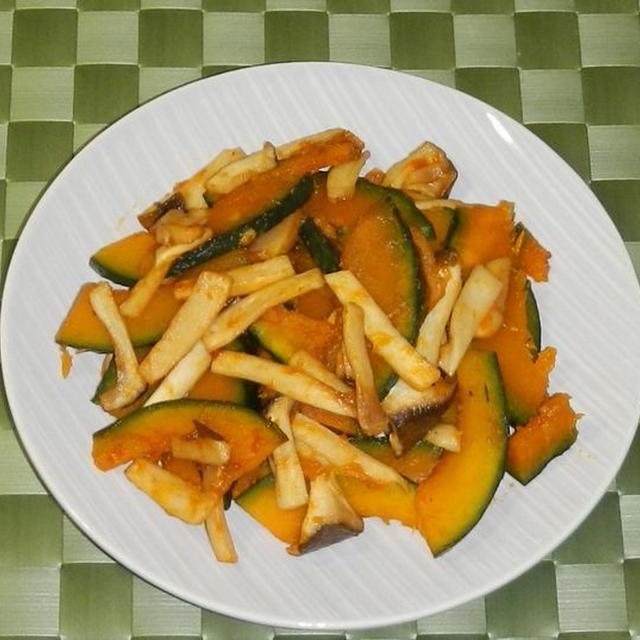 かぼちゃとエリンギの甘辛焼き