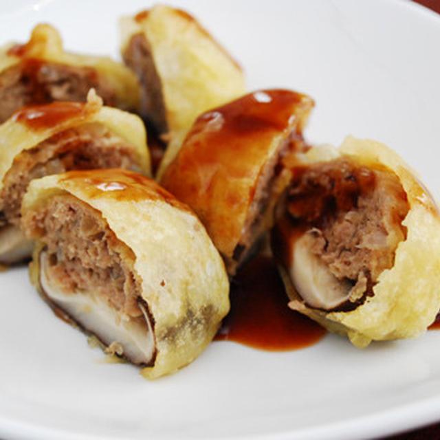合挽き肉と椎茸の抱き合わせ天ぷら