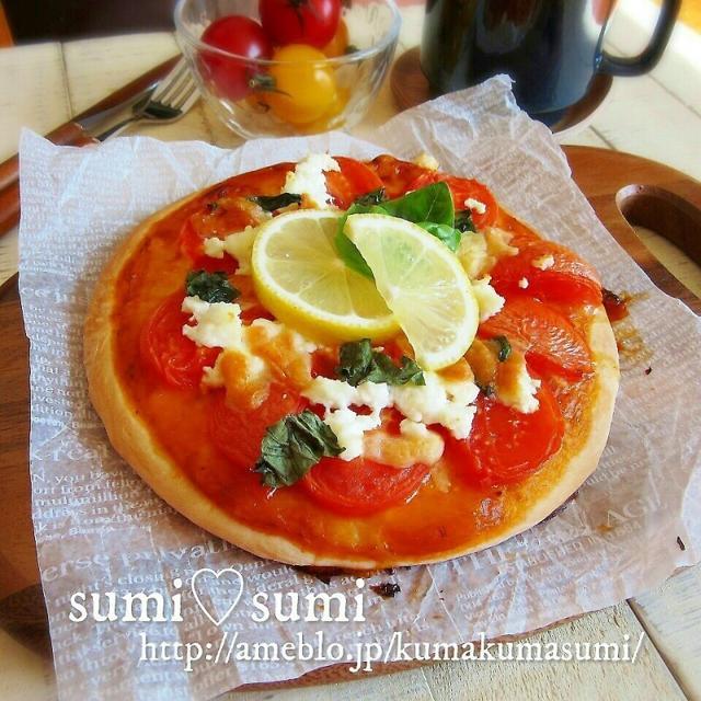 手捏ねで♥最強おうちピザ♥バジル×トマト×チーズ