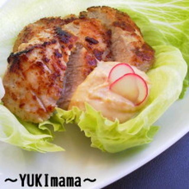 豚ヒレ肉の醤油糀マヨワイン漬けソテー豆乳チーズソース添え