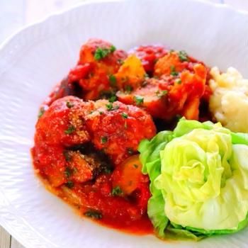 春キャベツとミートボールのトマト煮の作り方レシピ