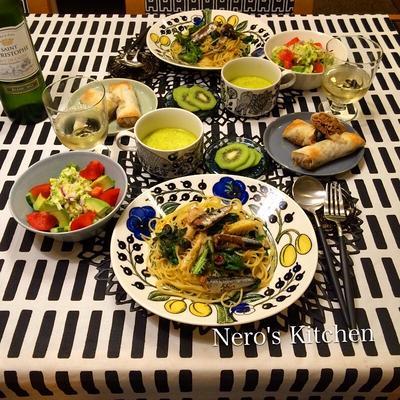 筍と春菊とオイルサーディンのペペロンチーノ・もやしと筍と豚バラの春巻き♪