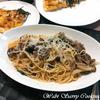 焦がしにんにく風味の牛薄切り肉とバジルのスパゲッティ