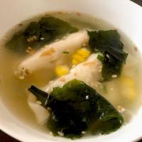 まな板、包丁も使わず、5分で簡単☆わかめ餃子スープ@リケン