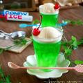 レトロ喫茶風♪氷入り⁉メロンクリームソーダーゼリー(ダマにならないゼリー作りのポイント)