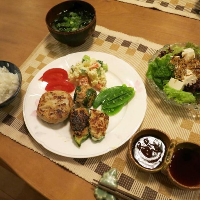 蓮根&ズッキーニの鋏み焼とピーマンの肉詰の夜ご飯♪