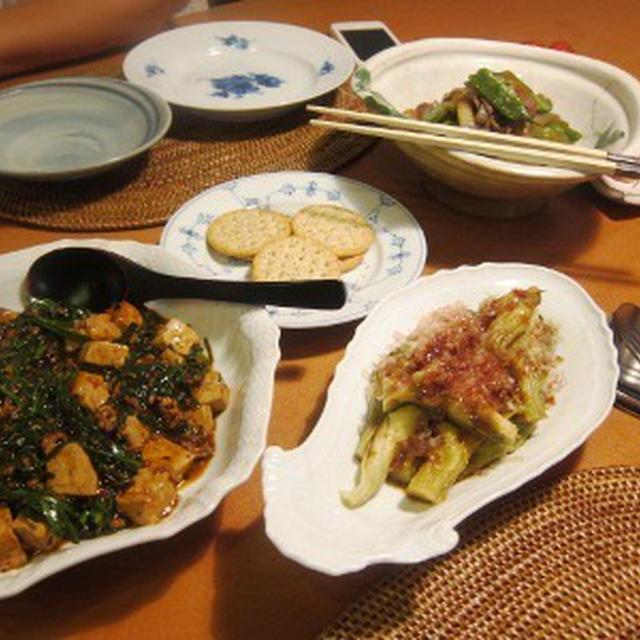 焼き茄子、麻婆豆腐、牛肉の炒め煮