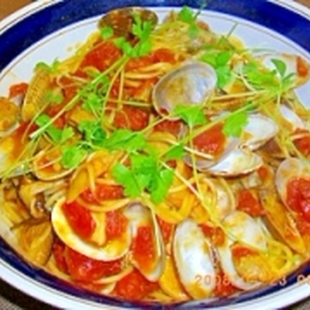 アサリと椎茸のボンゴレロッソ(トマトソース)