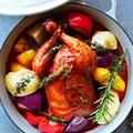 ほっとく時間ばっかりで簡単だったよ!丸鶏焼のわんぱく和イタリアン煮込み & カクテル(レシピ付)は桃缶と白ワインとカルピスのフローズン 今年は家でクリパしよー!