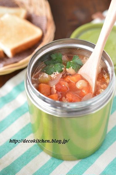 レンジで下ごしらえ&スープジャーで保温調理!「野菜たっぷり*ひよこ豆のトマトスープ」カリッと焼いたパンをひたすと最高です♪