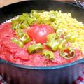 今日の晩ご飯/ダッチオーブンで作る、「丸ごとトマトご飯」と、スキレットで作る、「とろ~りチーズのチキンステーキ」