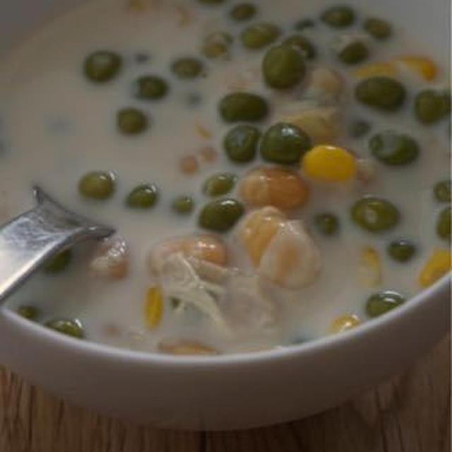 豆乳と水は1対1です。だしいらず、場合によっては塩もいらない簡単スープ