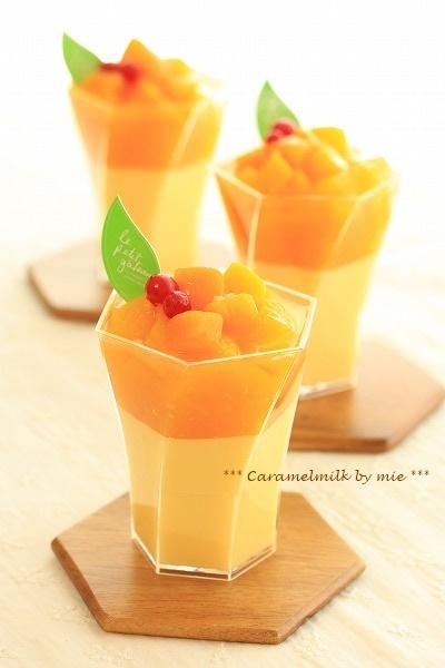 マンゴー風味のつるるん杏仁豆腐(冷たいお菓子)