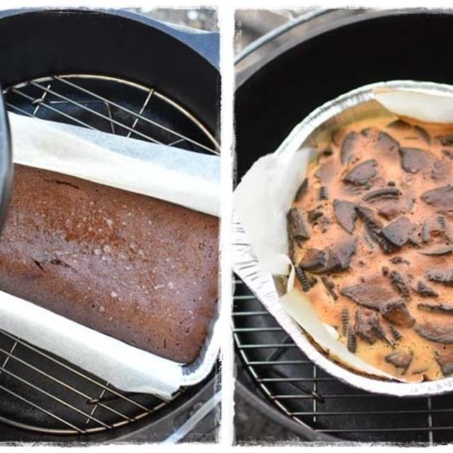 秋・琵琶湖キャンプ|ダッチオーブンで作るチョコケーキ&オレオ入りチーズケーキ
