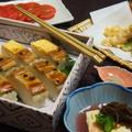 穴子の押し寿司  海老と夏野菜の天ぷら  生湯葉ともずくの梅だれ