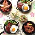 ハワイアンなお夕食「ロコモコ」「ガーリックシュリンプ」「アヒポキ」「スパゲッティサラダ」