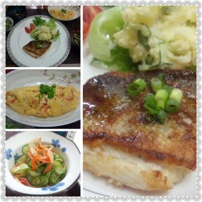 【献立】スズキのムニエル、ポテトサラダ、カニ玉、きゅうりとカニかまの酢の物、お味噌汁