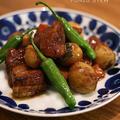 肉じゃがのポン酢煮込みと蓮根フライ by filleさん