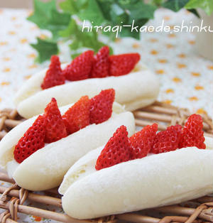 ふわふわ♪ふんわり白パン・練乳クリームサンド、ちぃとお花見っ!