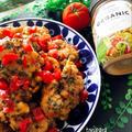 唐揚げ🐔バジル味噌ソースのトマトのせ