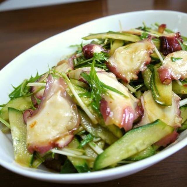 【祝】クックパッドつくれぽ10人話題入り★タコの水菜ときゅうりの中華サラダ♪
