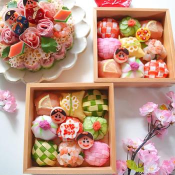 ひなまつり手まり寿司*ちらし寿司ケーキ