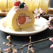 桜咲く桜スイーツ、ロールケーキ。