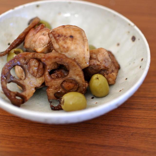 鶏肉と蓮根、オリーブのバルサミコソテー