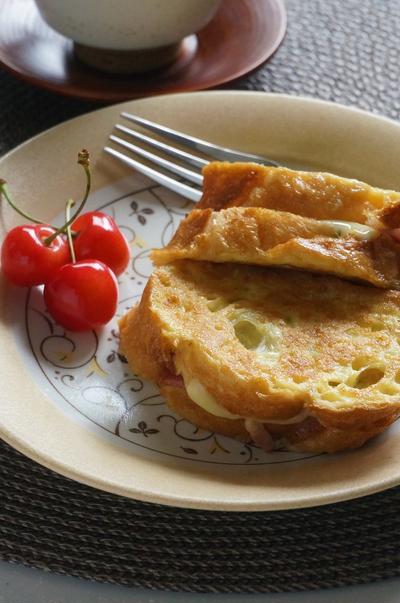 豆乳フレンチトースト♪ハムとチーズサンド
