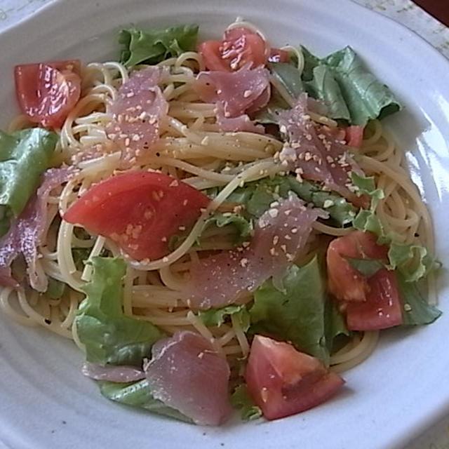 生ハムとトマトの冷製スパゲティ