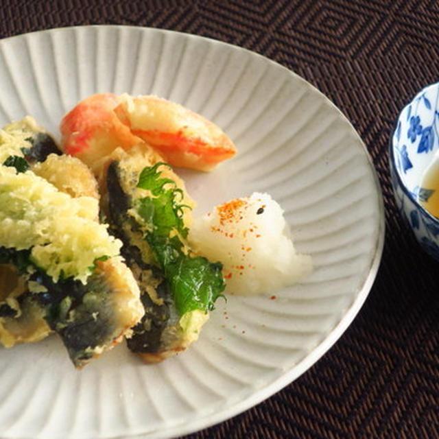 いわしの大葉巻き天ぷら ~たけのこご飯と一緒に