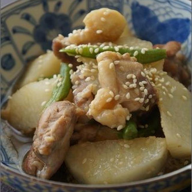 <秋野菜レシピ>長いもと鶏のごまじょうゆ煮。