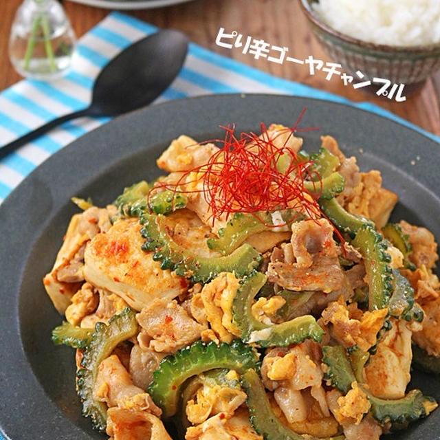 スタミナ夏レシピ!豚肉と豆腐のピり辛ゴーヤチャンプル