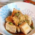 塩豆腐の揚げ出し香味ソースがけ