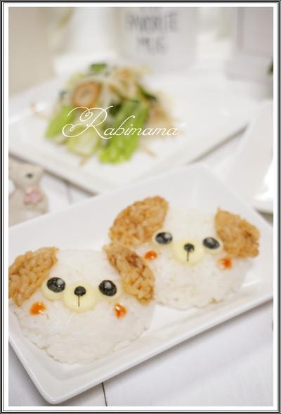 【食器は100均キャラご飯☆可愛いワンちゃんのおにぎりdeランチ】