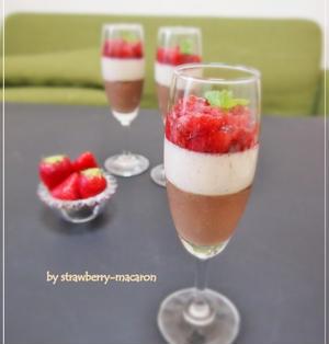 バレンタインにも♪水切りヨーグルトでヘルシーババロア2層&苺のゼリー