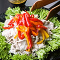 めんつゆで簡単中華ドレッシング☆炒めパプリカの冷しゃぶサラダ by すたーびんぐさん