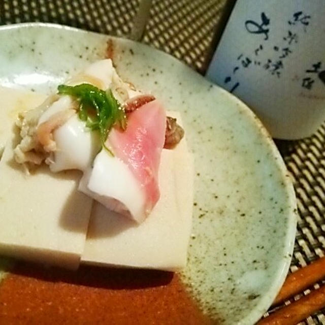 北寄貝と高野豆腐の炊き物×土佐しらぎくあらばしり、ひいかとじゃがいもの炊き物×旭若松燗