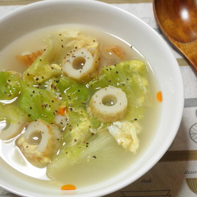 簡単!レタスとちくわのピリ辛中華スープ☆