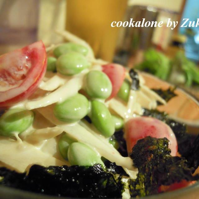 枝豆と新ごぼうのなんちゃって韓流ごぼうサラダ