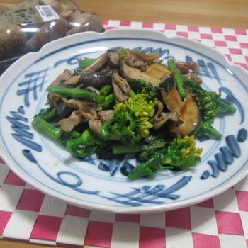 旬の食材で♪ 菜の花と椎茸・豚肉の辛子炒め