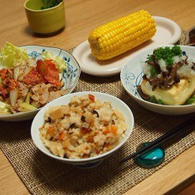 ■メニュー■豚とセロリのトマト炒め、揚げ出し豆腐、とうもろこし、ちらし寿司*6月26日