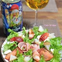プレモルと♪山葵菜とお花のサラダ
