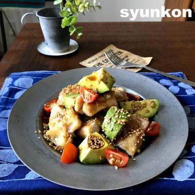 【簡単!!アボカドレシピ】鶏とアボカドのゴマじょうゆだれと、サンキュ!