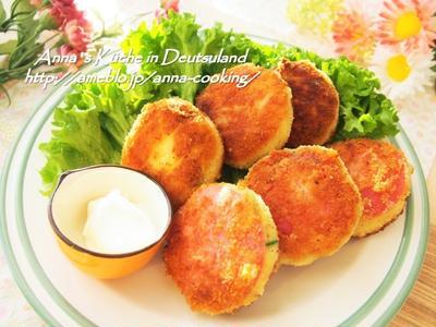 【主菜】ポテサラが余ったら♡作りたいリメイクおかず!ハムカツ風ポテサラコロッケ♡