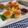 鮭のカリッともちもち焼きコロッケ・きのこと長いもの豆乳ポタージュ・・ワンプレート御飯 by strawberry-macaronさん