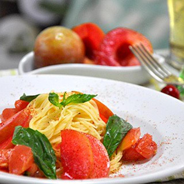 ソルダムとフレッシュトマトの冷製パスタ