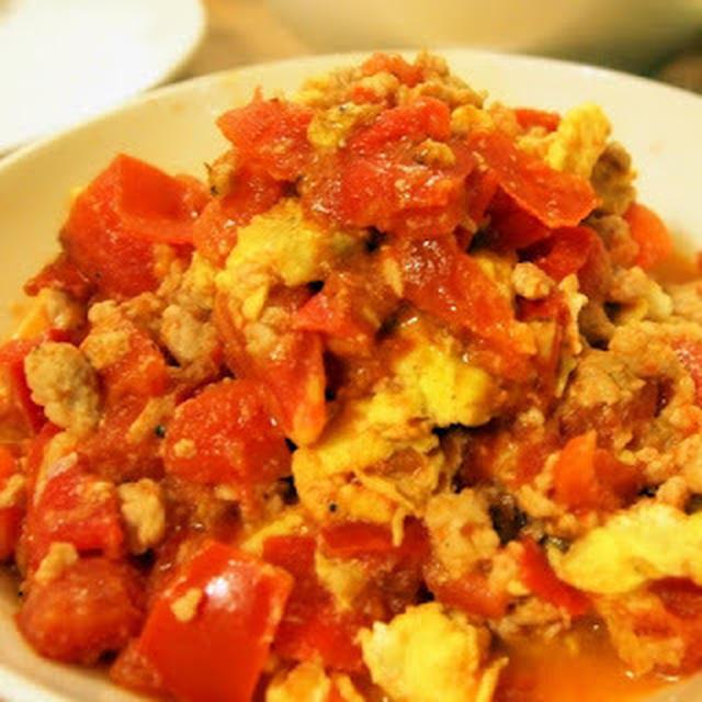 蕃茄肉片炒蛋│トマトと豚肉の中華風卵とじ